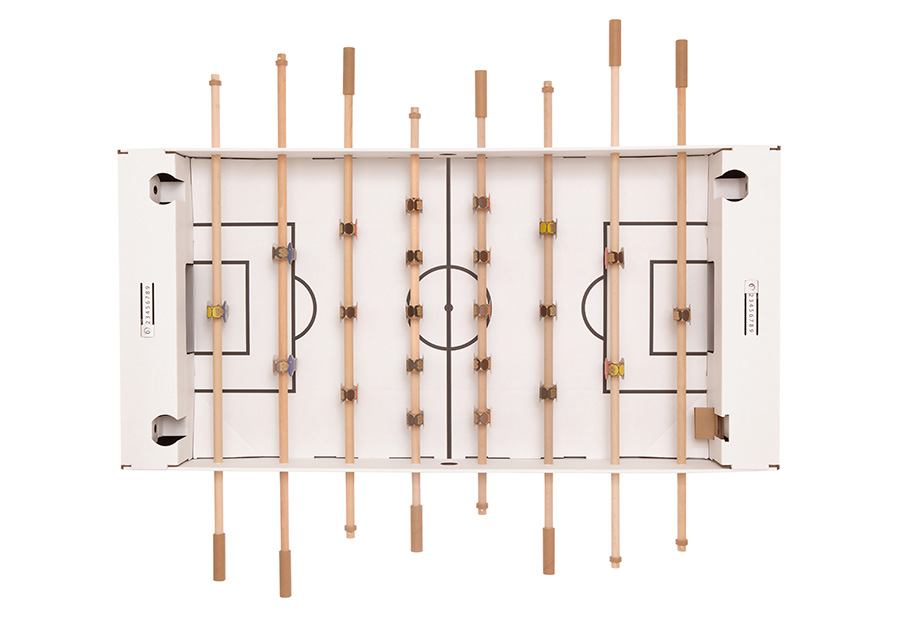 カルトーニ  ダンボール製組み立てテーブルサッカー(ホワイト) W1450 D90O H1260mm ¥18.000 キックパック