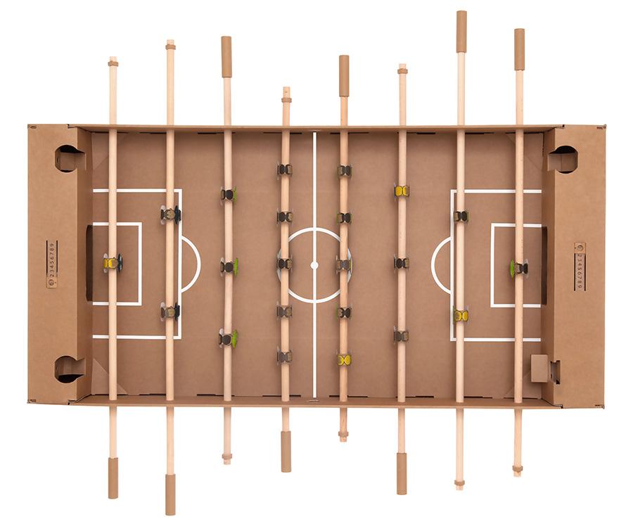 カルトーニ  ダンボール製組み立てテーブルサッカー(ブラウン) W1450 D90O H1260mm ¥16.000 キックパック