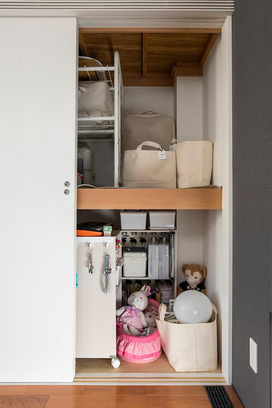 下の段の取り出しやすい位置は、お子さんのおもちゃコーナー。