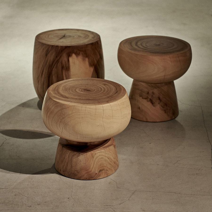 盛永省治/鹿児島を拠点に制作を行うウッドターナー。木が持っている個性を活かしたひとつとして同じものはないスツール。木の年輪と美しい木肌は、部屋の中で圧倒的な存在感を放つはず。