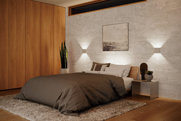 落ち着きのほしいベッドルームは、全般照明よりも局部を照らして演出したい。超薄型のシンプルなフォルムによって、壁との一体感を演出するブラケットライト。AB 50240¥15,000