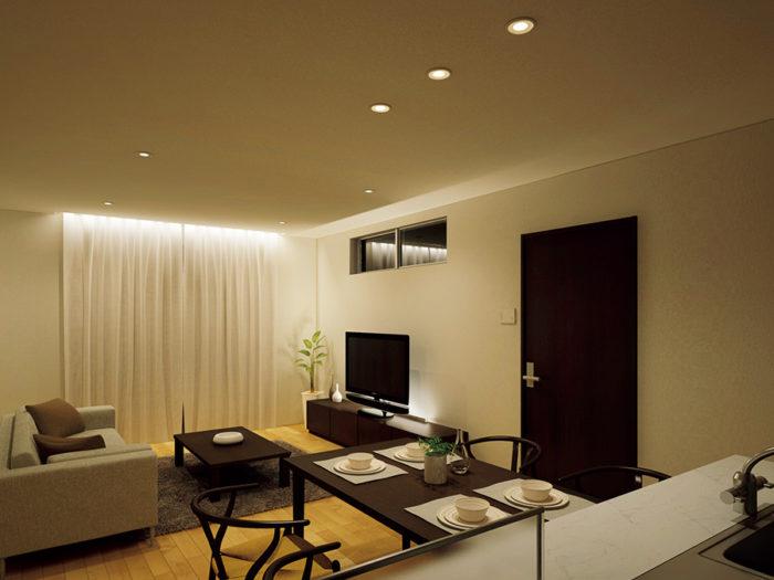 壁や鉛直面を照らすコーニス照明は、空間に奥行きを感じさせる。カーテンに当てることで色柄を浮き上がらせて楽しむことも。