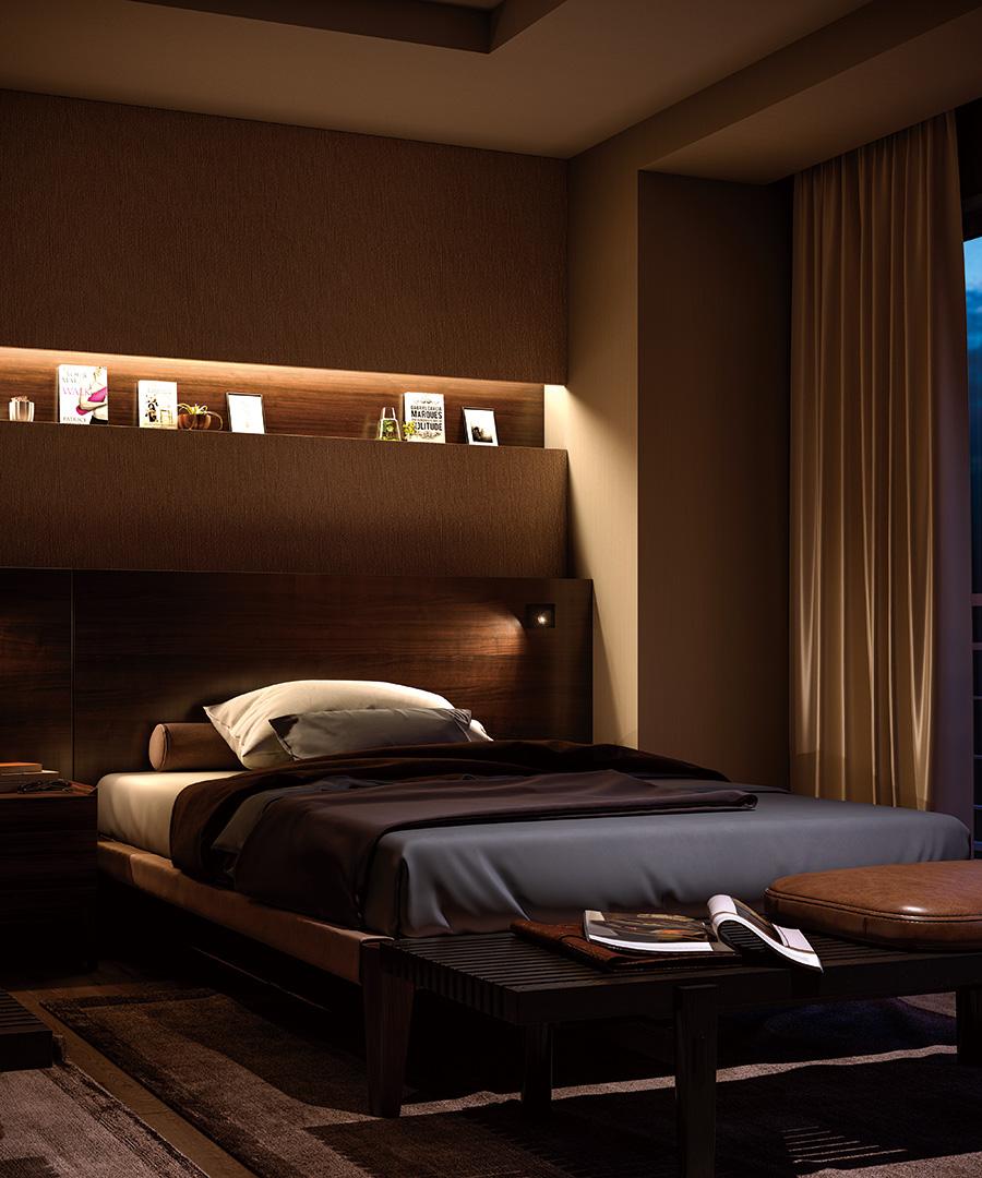 棚下の装飾をやわらかな光で照らすことで、空間の明るさ感を確保しながらピックアップ効果を高める。