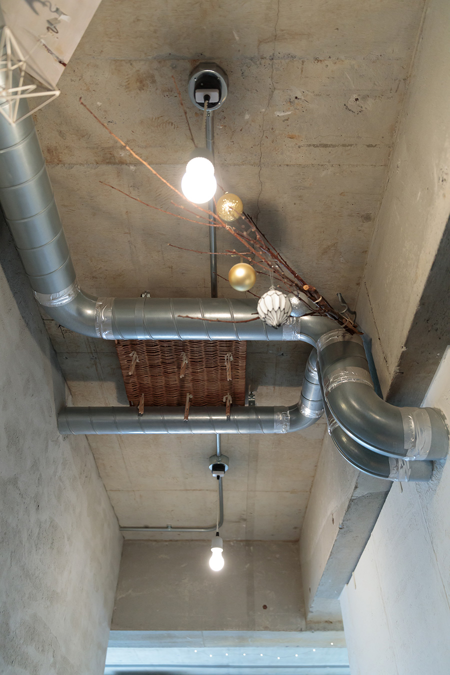 スケルトンにした天井。パイプを有効活用して好きなものを飾るスペースに。