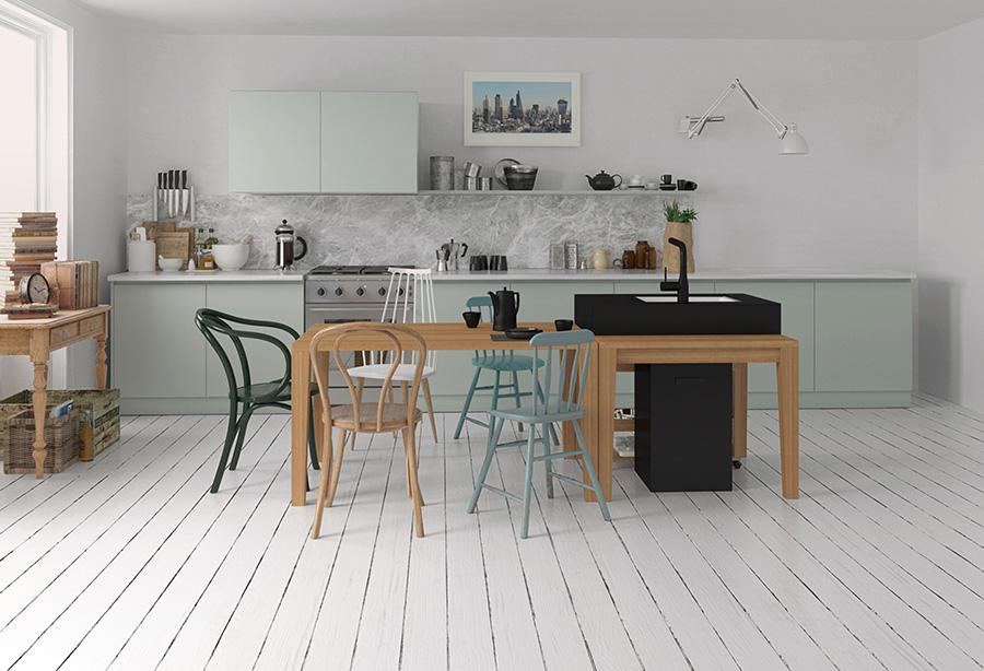 壁付けのキッチンに加え、HIROMAのシンクを活用した例。家族で料理を作ったり、ホームパーティーを開いたり。暮らしの楽しみが広がる。