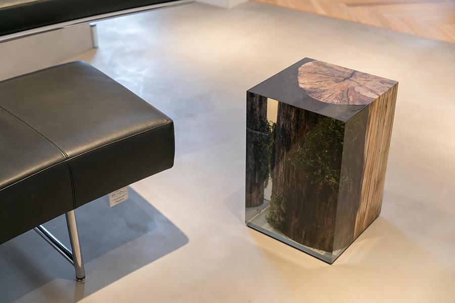 alcarol製のスツールは、シンプルな空間でアクセントになっている。「見ているだけで癒やされます」(西原さん)