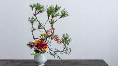 卓上松飾りで迎えるお正月 初心者でも松を生き生きといける 方法を教わる