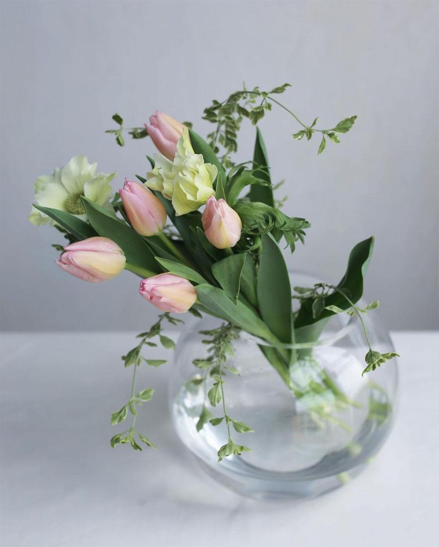 富山県で高品質で多種多様なチューリップの切り花を生産するセンティア。繊細で優しい表情のチューリップを丸いガラスの花瓶で飾る。