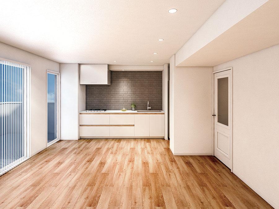 床はナチュラルな無垢のオーク材。壁付けのI型キッチンは、オプションでアイランドにすることもできる。天板は人工大理石で、コンロはガスかIH、無垢のハンドルはオークまたはウォールナットをセレクトできる。ガラスを使ったメインドアは、表情のある人気の框調デザイン。