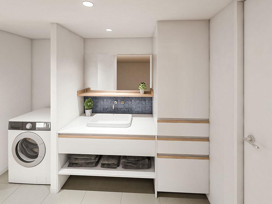キッチンとデザインを統一できるサニタリー。ボウルと蛇口の種類も選べる。