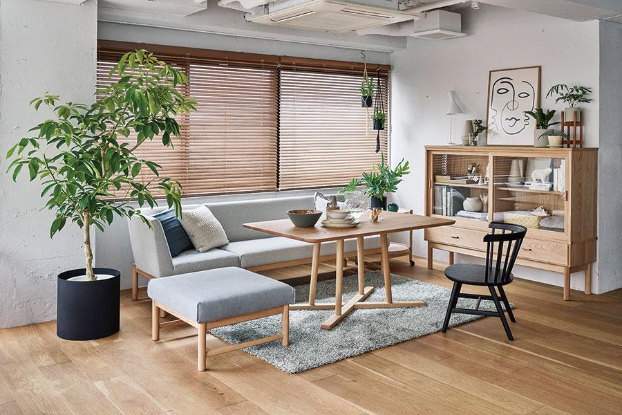 北欧テイストの家具もセットでセレクト可。THYMEリビングセット¥383,000(税抜)。単品でもOK。