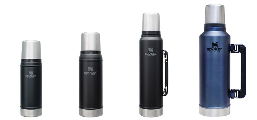 クラシック真空ボトル は、0.47L・0.75L・1L・1.9Lの4サイズ、グリーン・マットブラック・ロイヤルブルーの3色展開