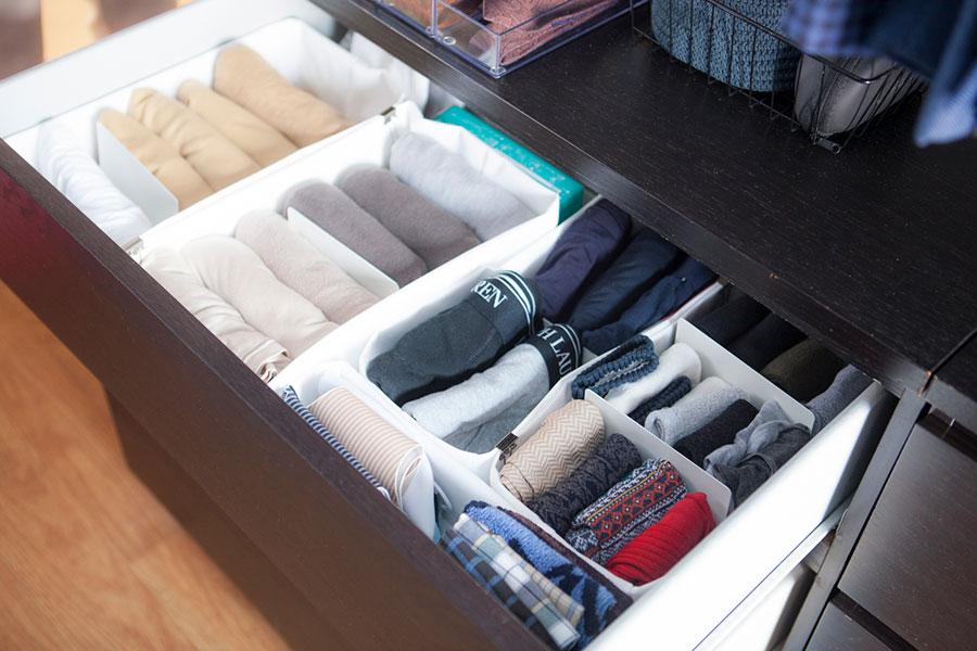 引出しの中は不織布の入れ物で仕分け。さらにブックエンドで支えて倒れないようにしている。
