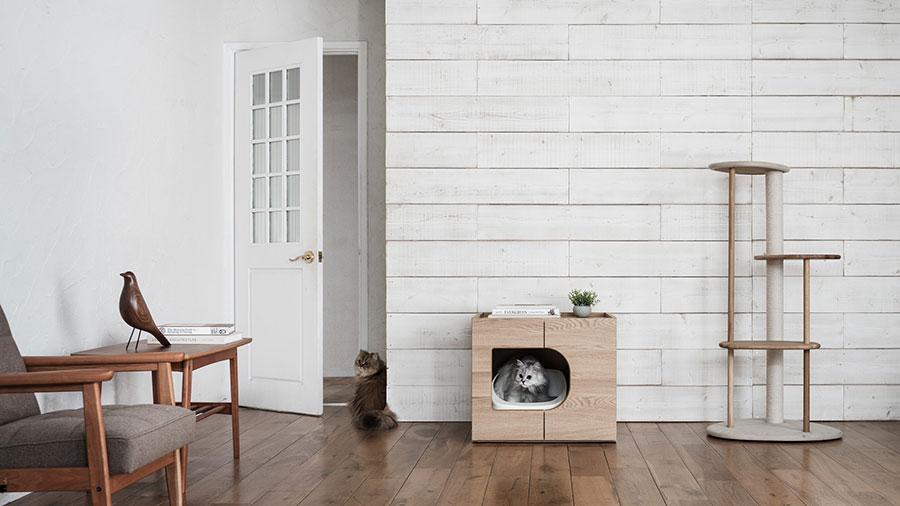猫が人目を避けて安心して使えるトイレ。トイレは猫が普段生活しているエリアに設置するとよい。