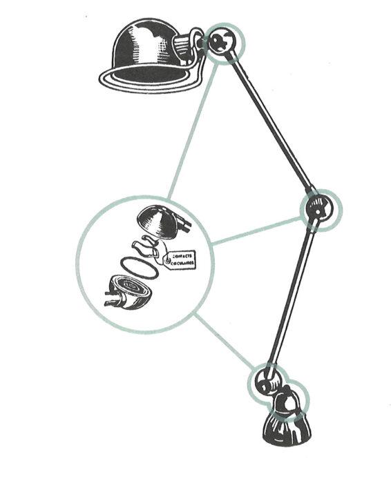 特許を持つ回転リングが特徴。 これにより断線の心配がなく、ヘッドとアームが360度回転し、さまざまなポジショニングを取ることを可能にした。