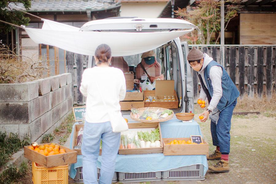 小田原の農園「MAMI&CO.FARM」の野菜や柑橘類なども販売。100%みかんジュースなど、人気商品がたくさん。