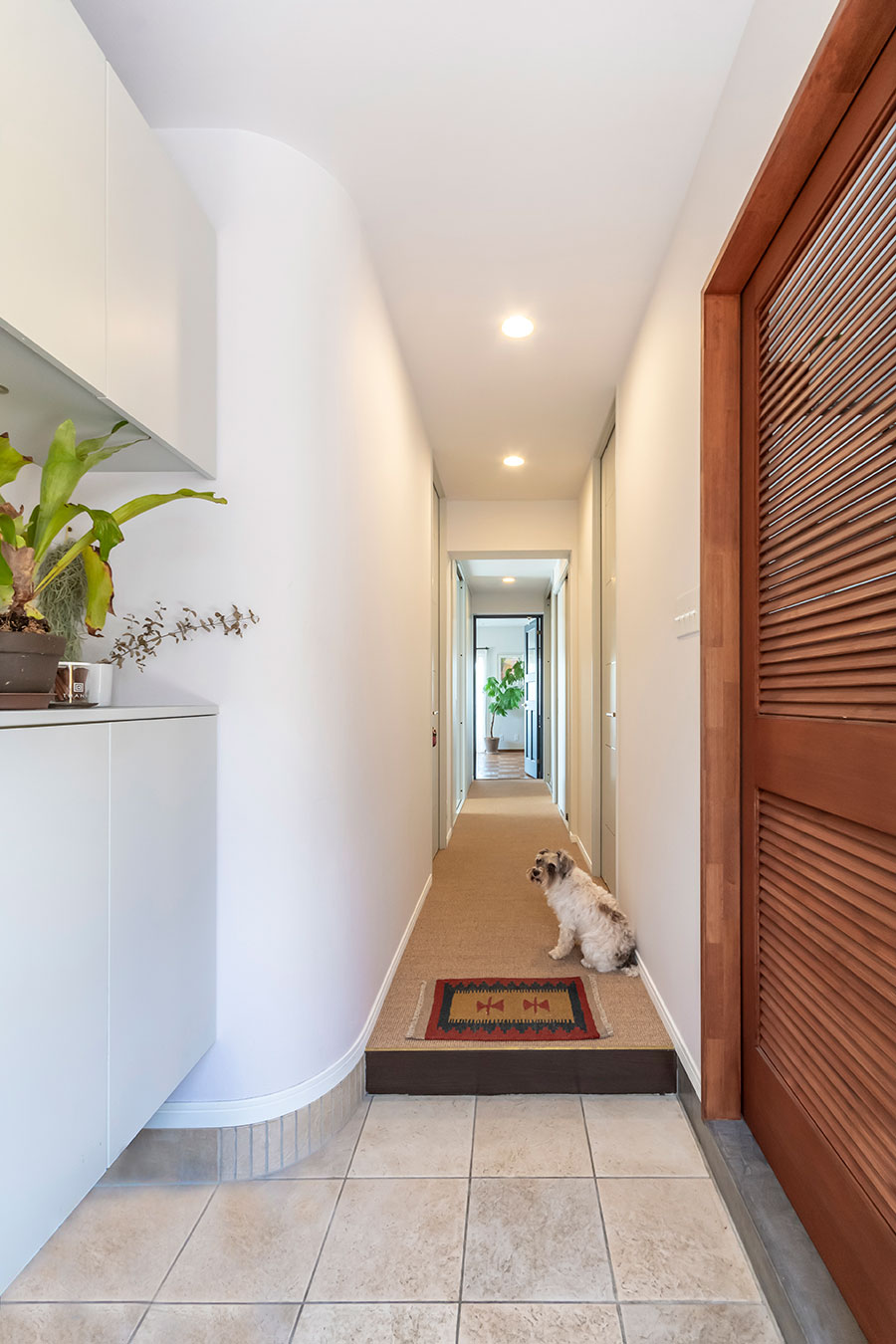 廊下の床には愛犬にも優しいサイザル麻を使用。