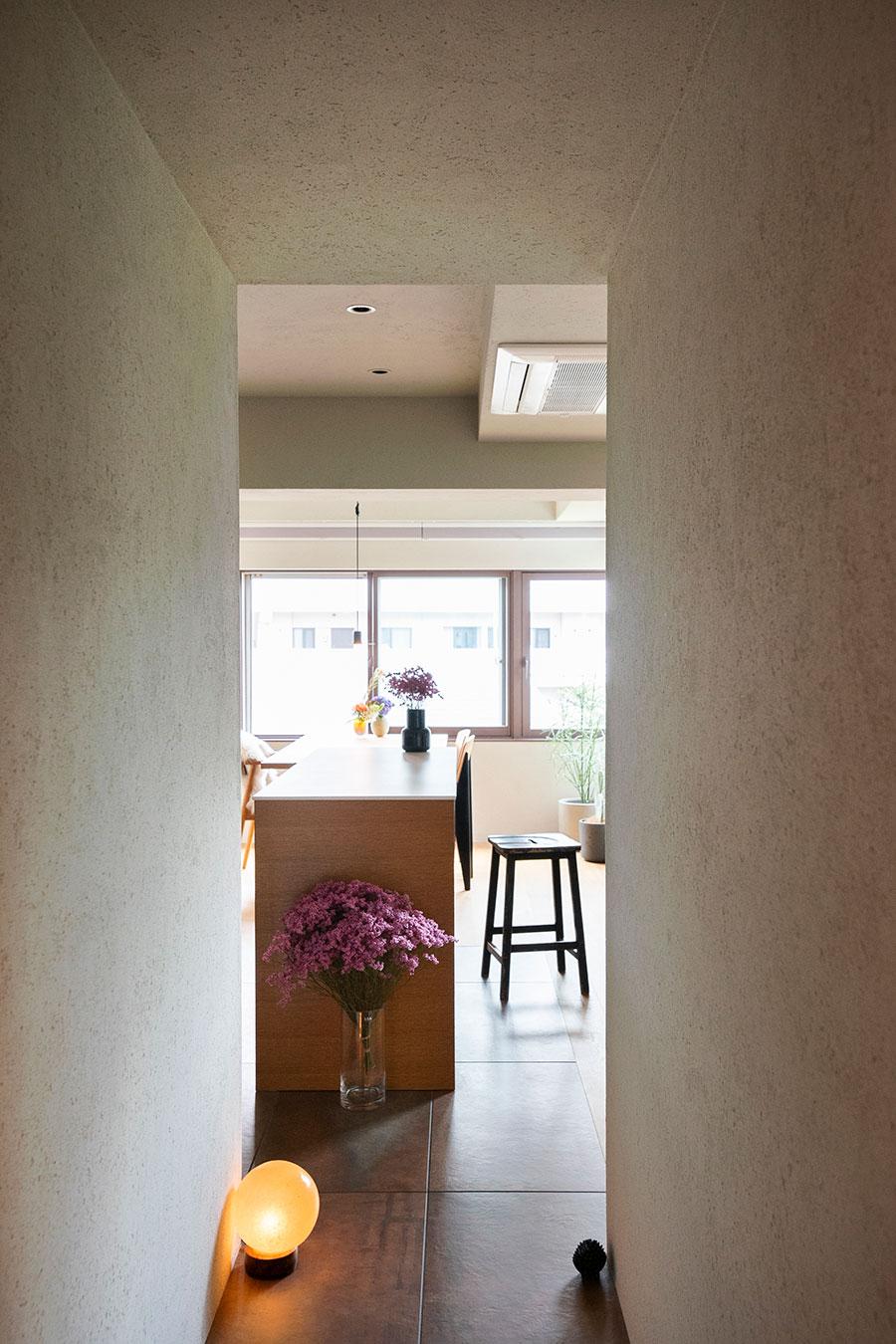 玄関からLDKに抜ける廊下はトンネルのよう。錆色の床のタイルが導いてくれる。