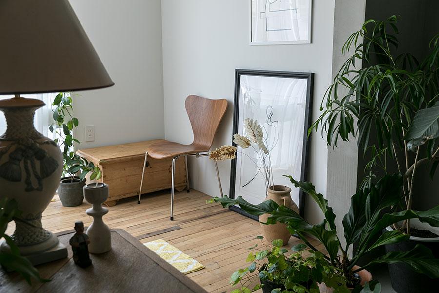 アンティークや植物で彩られた空間に、北欧名作家具のセブンチェアが引き立つ。