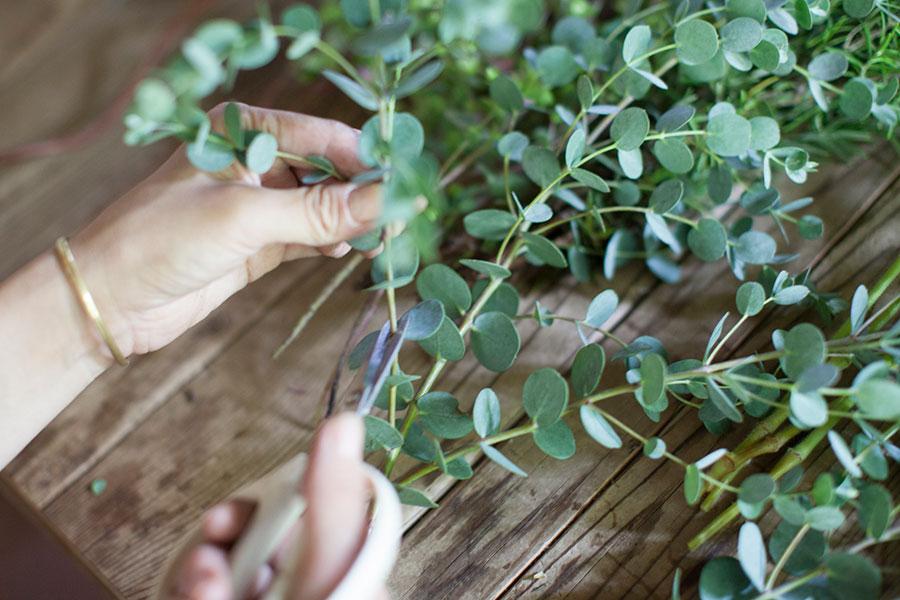 シルバーの葉がきれいなユーカリシルバーウェーブ。10cm前後にカット。