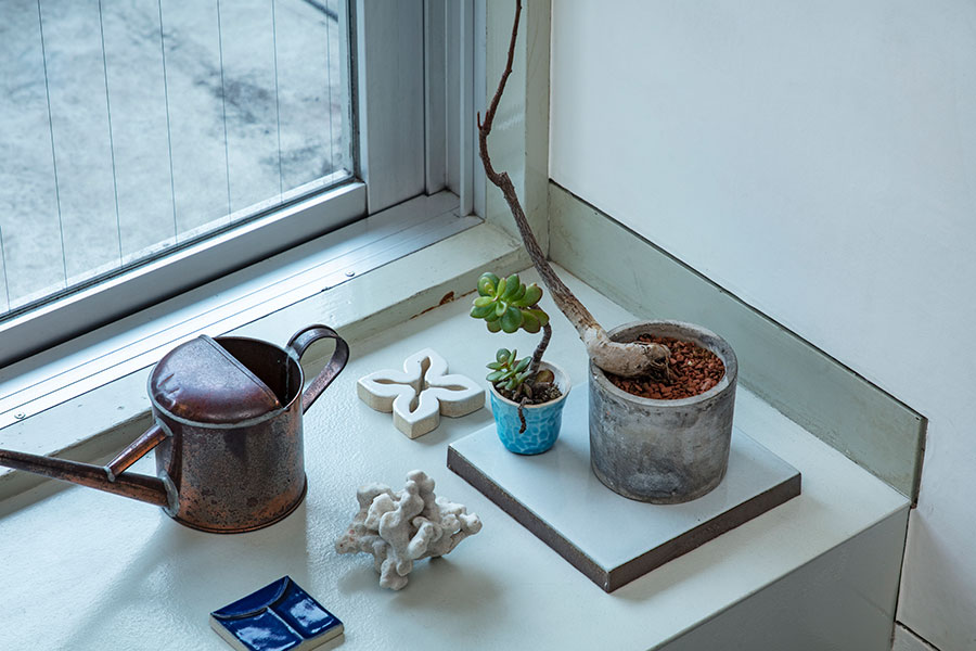 棚板やフローリングの床など、鉢を直接置きたくない場所でもタイルが活躍する。