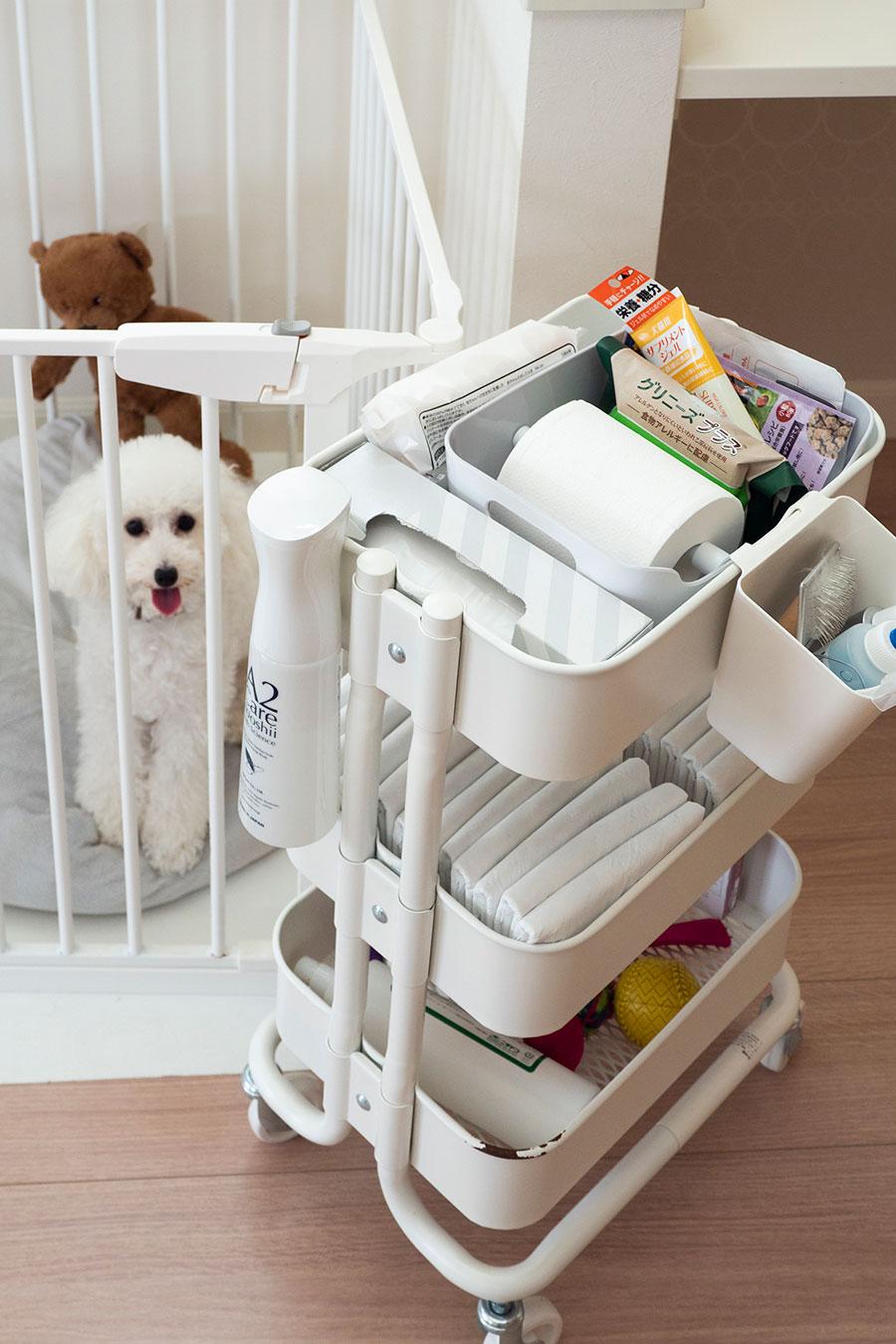 """IKEAのワゴンにトイレシートやブラシなど、愛犬""""わたあめ""""ちゃんの必需品を一括管理。キャスター付きで移動できるのが便利。ボックスの中に突っ張り棒を利用し、トイレットペーパーホルダーにしている。"""
