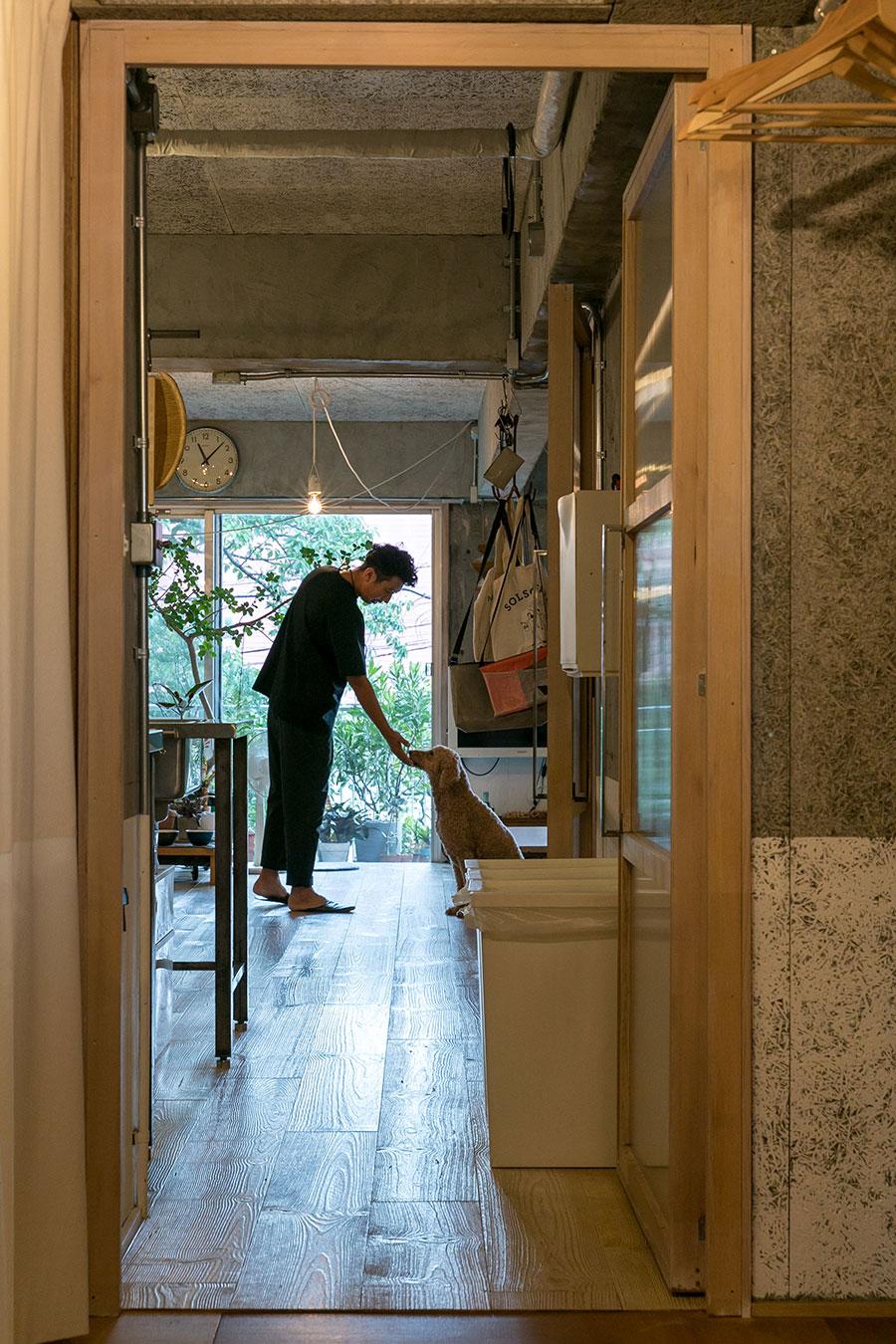 手前がベッドとバスルームのスペース、奥がリビングとキッチン。「トイレに扉がないので、来客のためにここにドアを作りました」